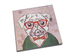 pop nerd - quadro cachorro hipster - 35,00